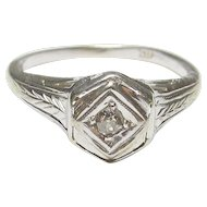 14K White Gold 0.03 Ct Old European Cut Diamond Etched Ring 1930's Vintage