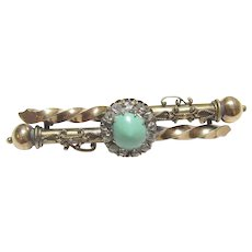 14K Yellow Gold 1.50 Ct Natural Blue Turquoise And Rose Cut Diamond Bar Pin Brooch 1890's Victorian
