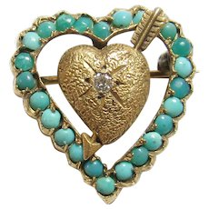 14K Yellow Gold 0.03 Ct Brilliant Cut Diamond And Turquoise Heart Brooch Pin 1940's Vintage