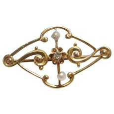 10K Yellow Gold 0.02 Ct Single Cut Diamond And Pearl Brooch Pin 1910's Edwardian