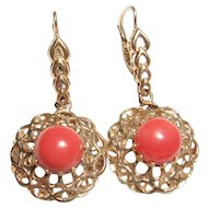 14K Yellow Gold Natural Pink Coral Dangle Earrings 2.00 Cts 1940's Vintage