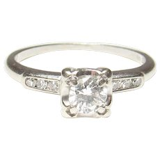 1940's Vintage 14K White Gold 0.31 Ct Brilliant Cut Diamond Ring 0.37 Cts Total
