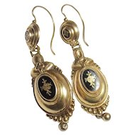 10K Yellow Gold Black Enamel Dangle Earrings 1890's Victorian