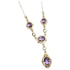 14K Yellow Gold Natural Oval Purple Amethyst Necklace 4.25 Cts 1930's Vintage