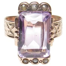 10K Rose Gold 4.00 Ct Natural Purple Amethyst And Seed Pearl Ring 1870's Victorian