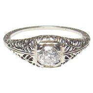18K White Gold 0.35 Ct Mine Cut Diamond Filigree Ring 1930's Vintage