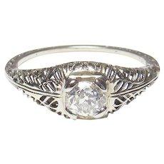 18K White Gold 0.35 Ct Mine Cut Diamond Filigree Ring 1930's Vintage