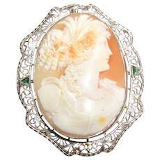 14K White Gold Hand Carved Bust Of Woman Shell Cameo Filigree Brooch/Pendant 1930's Vintage