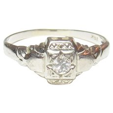14K White Gold 0.08 Ct European Cut Diamond Solitaire Ring 1930's Vintage