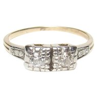 14K Yellow And White Gold Single And European Cut Diamond Ring 0.15 Cts 1930's Vintage