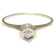 14K Yellow And White Gold 0.03 Ct European Cut Diamond Filigree Ring 1930's Vintage