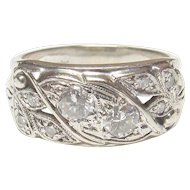 Kinsley & Sons 14K White Gold Eight Brilliant Cut Diamond Ring 0.36 Cts 1940's Vintage