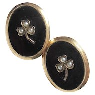 10K Yellow Gold Natural Seed Pearl And Black Onyx Earrings 1930's Vintage