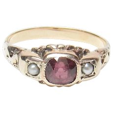 14K Yellow Gold 0.50 Ct Natural Maroon Red Rhodolite Garnet And Pearl Ring 1890's Victorian