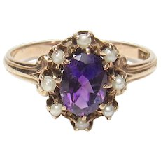 10K Yellow Gold 0.75 Ct Natural Oval Purple Amethyst And Pearl Ring 1890's Victorian