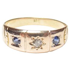 18K Yellow Gold 0.04 Ct Mine Cut Diamond And Synthetic Sapphire Band Ring 1880's Victorian