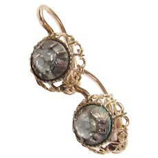 14K Yellow Gold And Silver Rose Cut Diamond Earrings 0.40 Cts 1830's Georgian