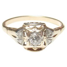 14K Yellow And White Gold 0.12 Ct Mine Cut Diamond Ring 0.16 Cts TW 1890's Victorian - Red Tag Sale Item
