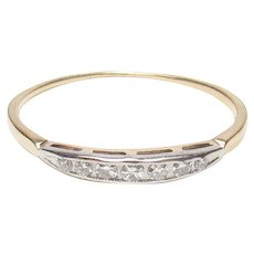 14K Yellow And White Gold Seven Single Cut Diamond Band Style Ring 0.07 Cts 1930's Vintage