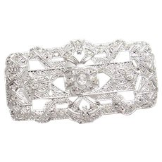 Platinum Mine And Rose Cut Diamond Bar Pin Brooch 0.50 Cts 1920's Art Deco