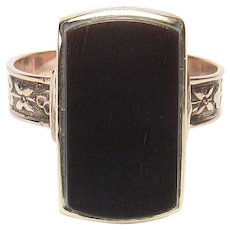 10K Rose And Yellow Gold Natural Black Onyx Signet Ring 1890's Victorian