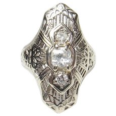 14K White Gold Single, European And Mine Cut Diamond Filigree Ring 0.27 Cts 1930's Vintage
