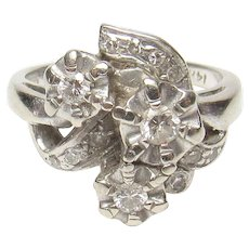 14K White Gold Single And Brilliant Cut Diamond Ring 0.30 Cts 1940's Vintage