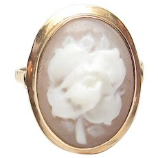 14K Yellow Gold Hand Carved Rose Shell Cameo Ring 1930's Vintage
