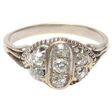 18K White Gold Seven Mine Cut Diamond Ring 0.30 Cts 1920's Art Deco