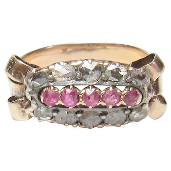 14K Yellow Gold Natural Red Ruby And Rose Cut Diamond Ring 0.35 Cts 1900's Edwardian