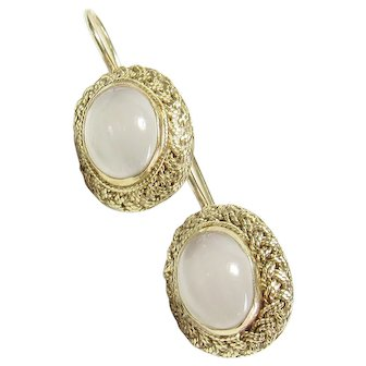 14K Yellow Gold Natural Oval White Moonstone Earrings 4.00 Cts 1930's Vintage