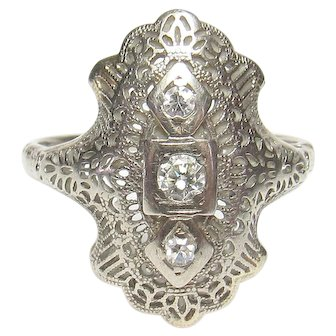 14K White Gold 0.08 Ct European Cut Diamond Filigree Ring 0.14 TW 1930's Vintage