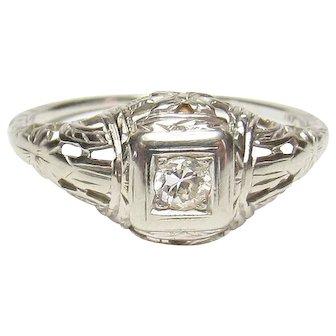 18K White Gold 0.08 Ct European Cut Diamond Filigree Ring 1930's Vintage
