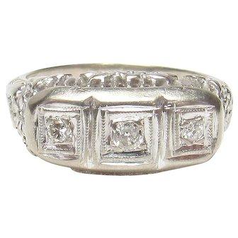 14K White Gold Three Brilliant Cut Diamond Filigree Ring 0.10 Cts 1930's Vintage