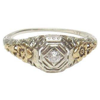 18K White And Yellow Gold 0.04 Ct European Cut Diamond Filigree Ring 1930's Vintage