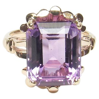10K Yellow Gold 5.70 Ct Natural Emerald Cut Purple Amethyst Ring 1940's Vintage