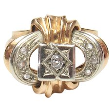 18K Yellow And White Gold 0.06 Ct Mine Cut Diamond Ring 1890's Victorian