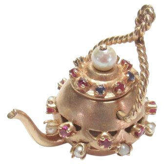 Heavy 14K Yellow Gold Natural Sapphire, Ruby, Pearl Teapot Charm 0.75 Cts 1950's Vintage