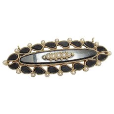 14K Yellow Gold Natural Seed Pearl And Onyx Brooch 1910's Edwardian