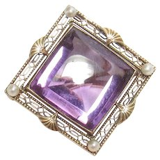 14K Yellow Gold 10.25 Ct Natural Square Cut Purple Amethyst Seed Pearl Brooch 1910's Edwardian