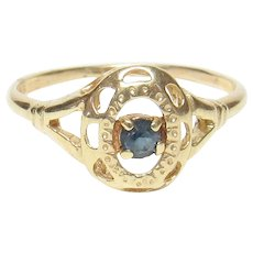 14K Yellow Gold 0.15 Ct Natural Round Blue Sapphire Solitaire Ring 1940's Vintage