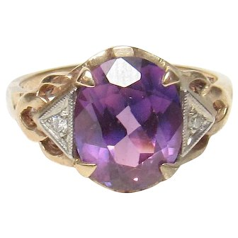 10K Yellow Gold 2.50 Ct Synthetic Purple Alexandrite And Diamond Ring 1940's Vintage