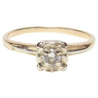 14K Yellow And White Gold 0.16 Ct European Cut Diamond Solitaire Ring 1930's Vintage