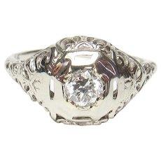 14K White Gold 0.23 Ct European Cut Diamond Filigree Ring 1930's Vintage