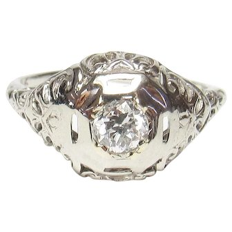 14K White Gold 0.23 Ct European Cut Diamond Filigree Ring 1930's Vintage