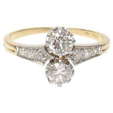 18K Yellow And White Gold European Cut Diamond Ring 0.60 Cts 1910's Edwardian
