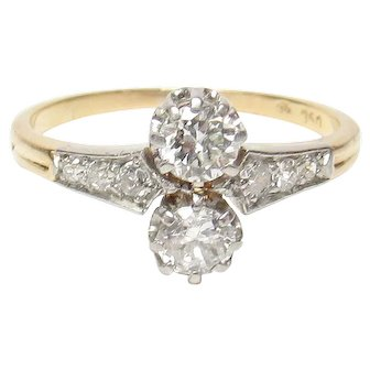 18K Yellow And White Gold European Cut Diamond Ring 0.60 Cts 1910's Edwardian