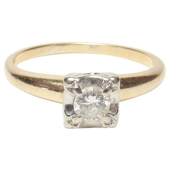 14K Yellow And White Gold 0.23 Ct Brilliant Cut Diamond Ring 1940's Vintage