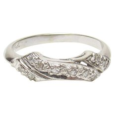 14K White Gold Single Cut Diamond Band Style Ring 0.10 Ct 1940's Vintage
