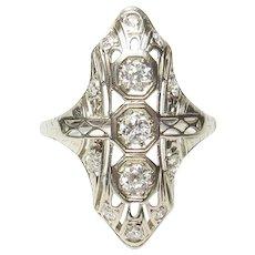 18K White Gold Single And European Cut Diamond Filigree Ring 0.50 Cts 1930's Vintage